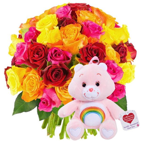 Cadeaux insolites 50 ROSES MULTICOLORES + BISOUNOURS ROSE