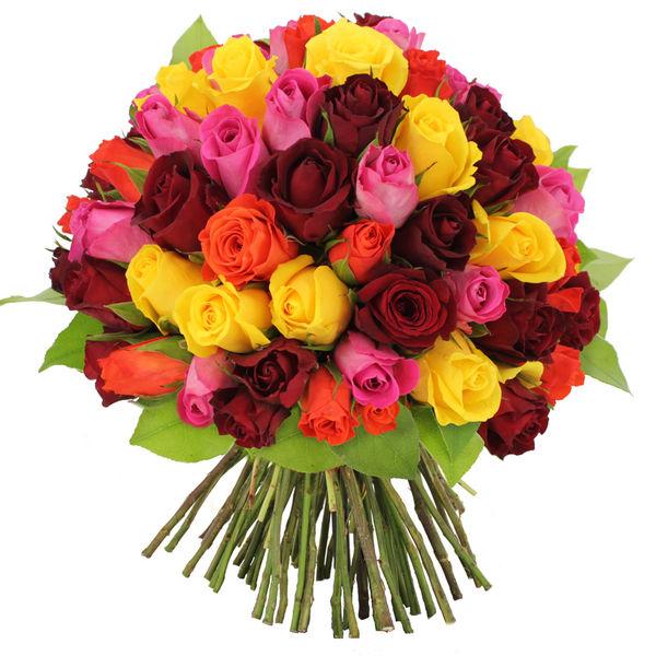 Bouquet de roses BOUQUET DE 70 ROSES MULTICOLORES