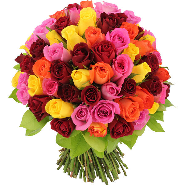 Bouquet de roses 80 ROSES MULTICOLORES