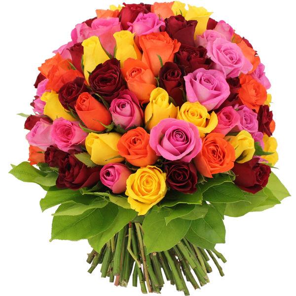 Bouquet de roses BOUQUET DE 100 ROSES MULTICOLORES