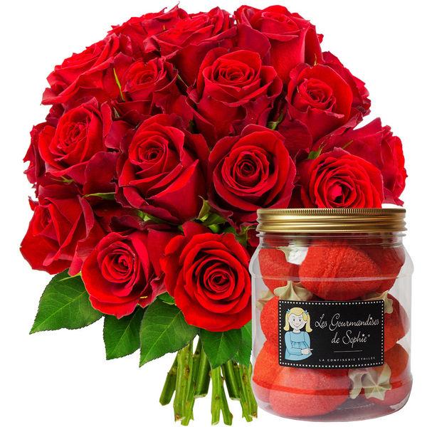 Cadeaux Gourmands 20 ROSES ROUGES + BONBONS FRAISES