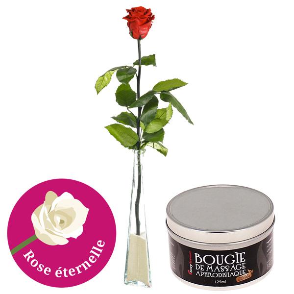 Cadeaux Sexy ROSE ETERNELLE 70CM + SOLIFLOR + BOUGIE DE MASSAGE