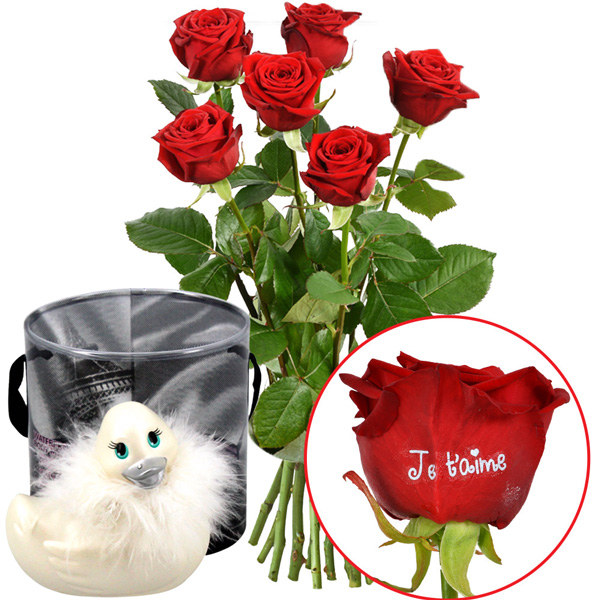 Cadeaux Sexy 5 + 1 ROSE MARQUEE JE TAIME 50CM + CANARD VIBRANT