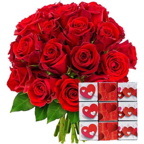 Cadeaux Gourmands 20 ROSES ROUGES + NAPOLITAINS
