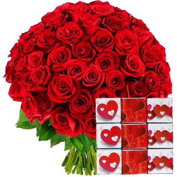 Cadeaux Gourmands 100 ROSES ROUGES + NAPOLITAINS