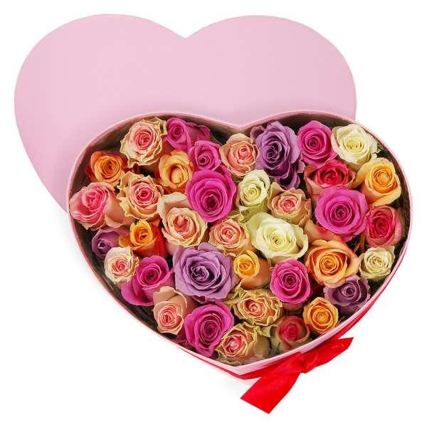 Bouquet de roses BOITE COEUR ROSE + ROSES PASTEL
