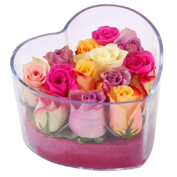 Bouquet de roses COEUR PLEXI + ROSES PASTEL