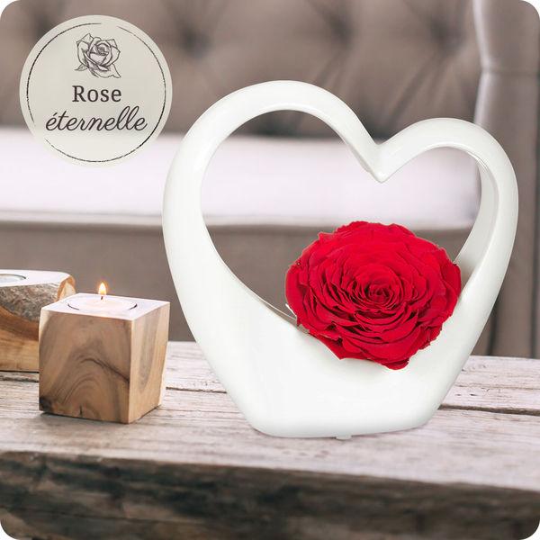 Les Roses MINI COEUR CERAMIQUE BLANC + ROSE STABILISEE ROUGE