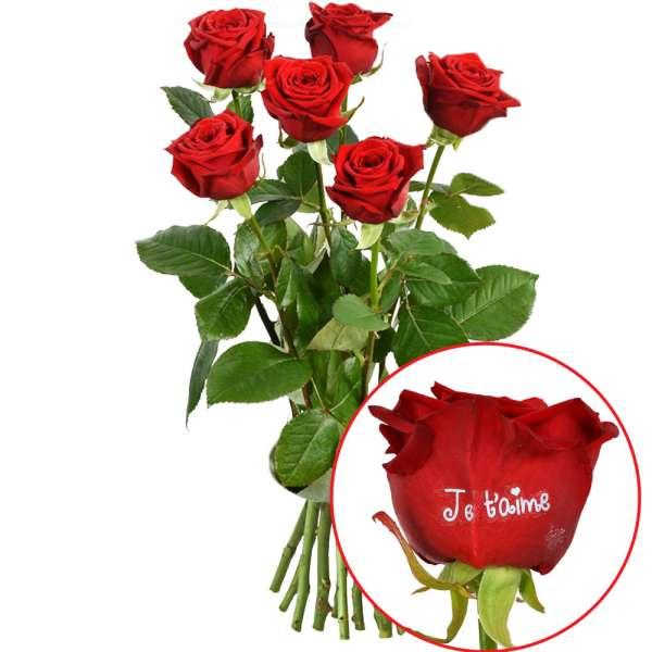 Bouquet de roses 5 + 1 ROSE MARQUEE JE TAIME 60CM