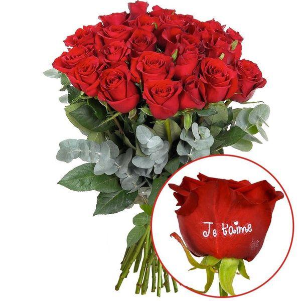 Bouquet de roses 23 + 1 ROSE MARQUEE JE T'AIME 60CM