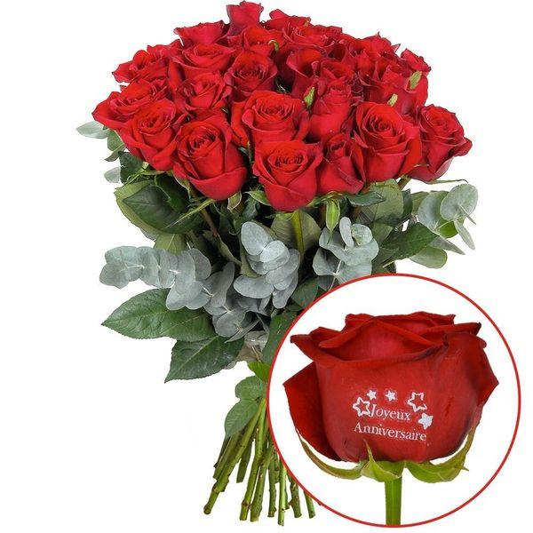 Bouquet De Roses 23 1 Rose Marquee Joyeux Anniversaire 60cm Livraison En France Florajet