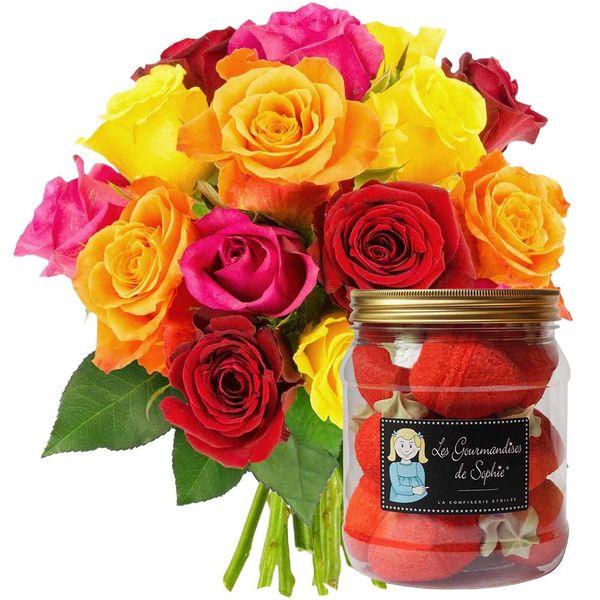 Cadeaux Gourmands 15 ROSES MULTICOLORES + BONBONS FRAISES