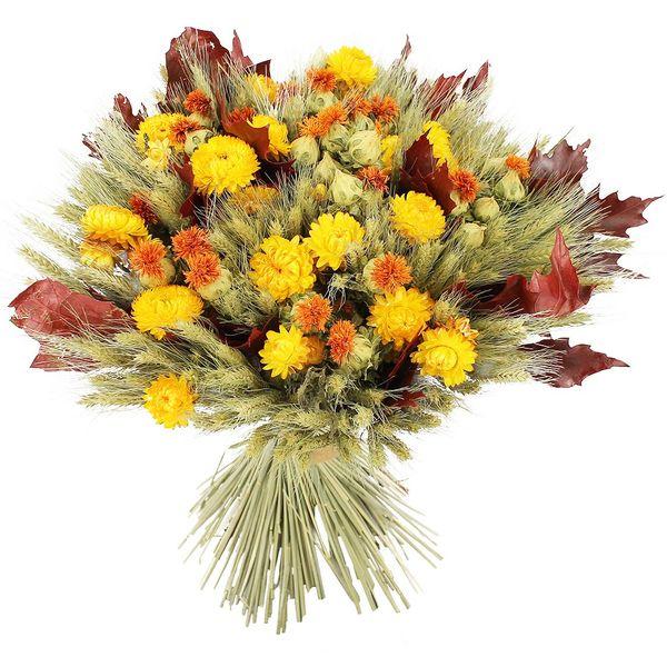 Bouquet rond BOUQUET DE FLEURS SECHEES JAUNE XL