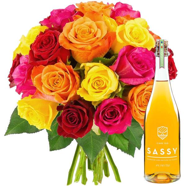 Cadeaux Gourmands 20 ROSES MIX + BOUTEILLE DE CIDRE BIO