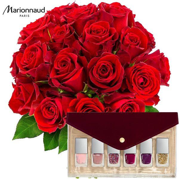 Cadeaux Bien-Etre 20 ROSES ROUGES + TROUSSE DE 6 VERNIS