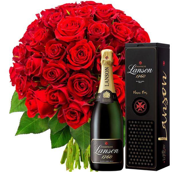 Cadeaux insolites 50 ROSES ROUGES + LANSON BRUT + MUSIC BOX