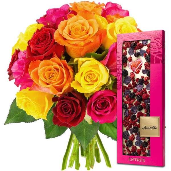 Cadeaux Gourmands 20 ROSES MIX + CHOCOLAT BLANC