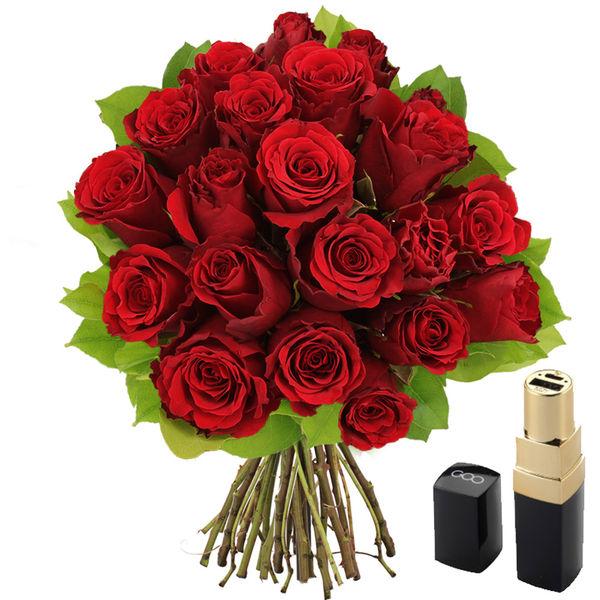 Cadeaux insolites 20 ROSES ROUGES + POWER BANK ROUGE A LEVRES