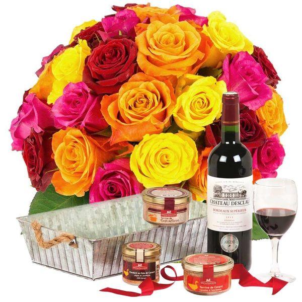 Cadeaux Gourmands 30 ROSES MIX + COFFRET APERITIF GOURMAND