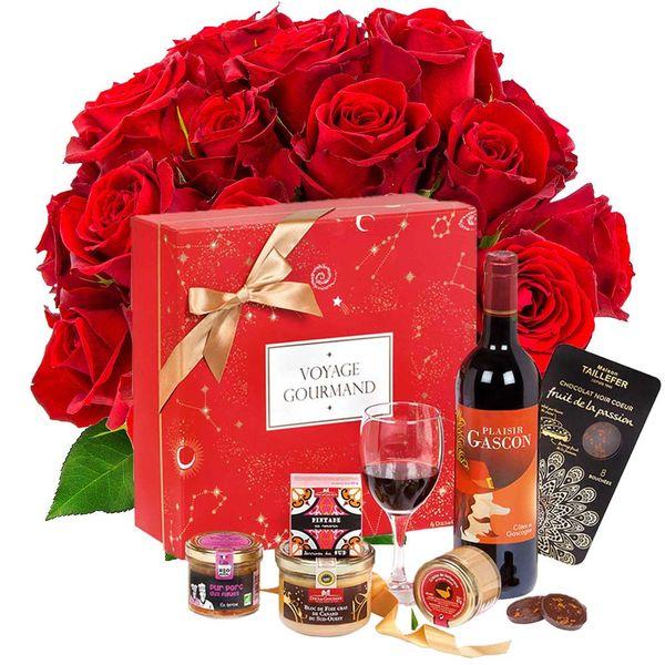 Cadeaux Gourmands 20 ROSES ROUGES + COFFRET VOYAGE GOURMAND