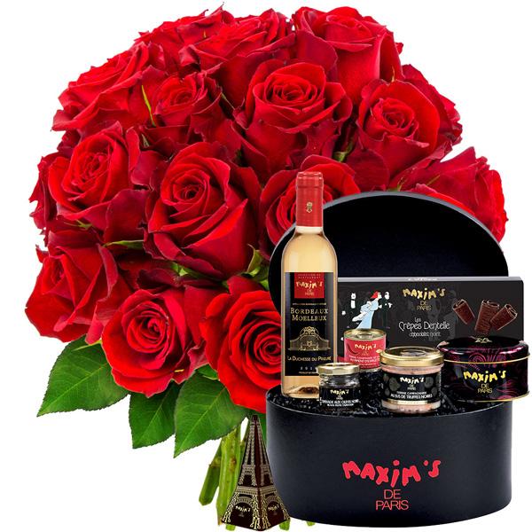 Cadeaux Gourmands 20 ROSES ROUGES + COFFRET BLACK IS BEAUTIFUL