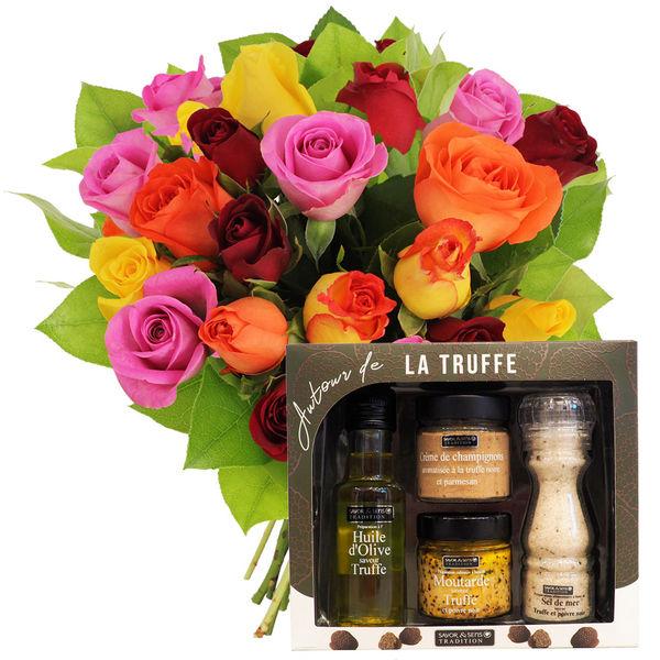Cadeaux Gourmands 20 ROSES MIX + COFFRET AUTOUR DE LA TRUFFE