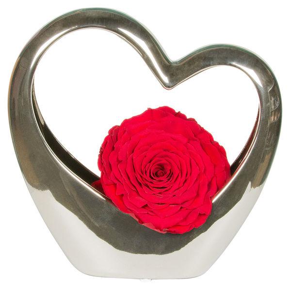 Bouquet de roses COEUR ARGENT EN CERAMIQUE ET SA ROSE ROUGE