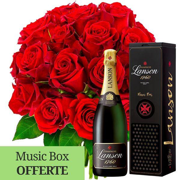 Cadeaux insolites 20 ROSES ROUGES + CHAMPAGNE + MUSIC BOX