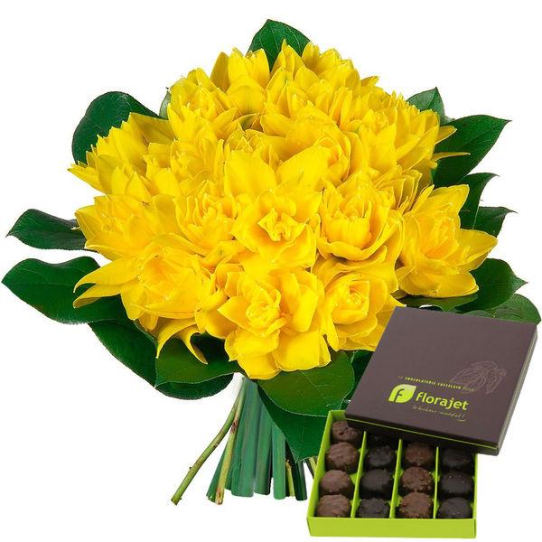 Bouquet rond BOUTON D'OR + ROCHERS AU PRALINE