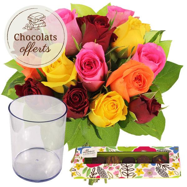 Cadeaux Gourmands 15 ROSES MIX + VASE + 5 CHOCOLATS