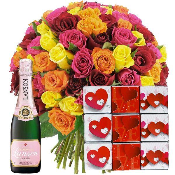 Cadeaux Gourmands 100 ROSES + CHAMPAGNE ROSE + NAPOLITA