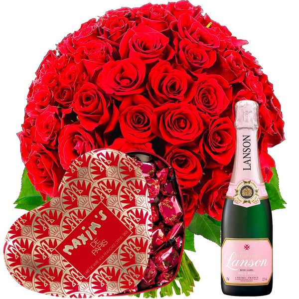 Cadeaux Gourmands 70 ROSES ROUGES + COEUR CHOCOLAT + CHAMPAGNE ROSE