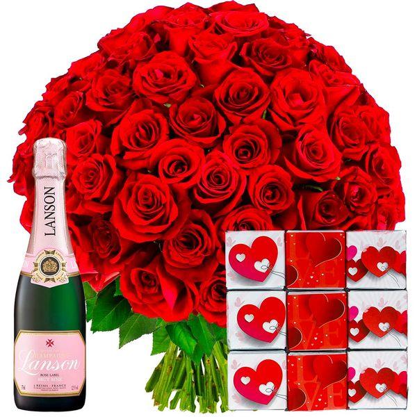 Cadeaux Gourmands 100 ROSES ROUGES + CHAMPAGNE ROSE + NAPOLITAINS