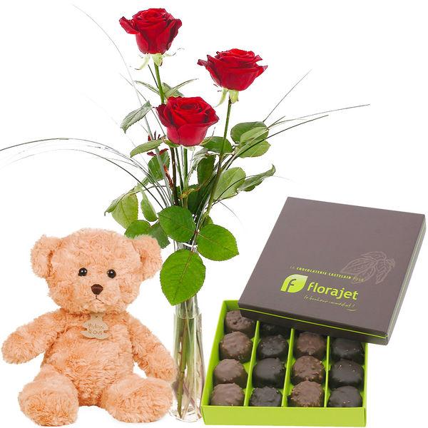 Cadeaux Gourmands 3 ROSES ROUGES + SOLIFLORE + OURS BRUN + ROCHERS
