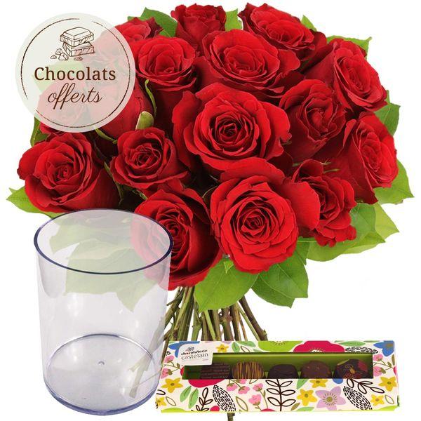 Cadeaux Gourmands 15 ROSES ROUGES + VASE + 5 CHOCOLATS