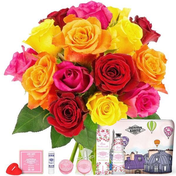 Cadeaux Bien-Etre 15 ROSES + TROUSSE BIEN ETRE SENTEUR ROSE