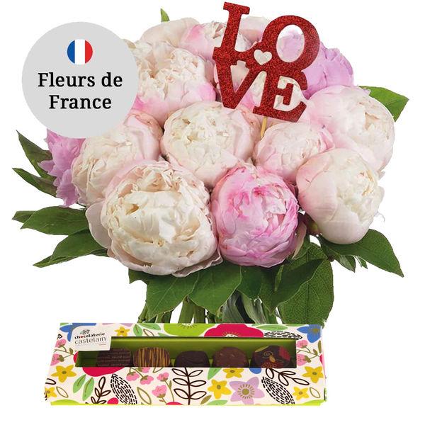 Cadeaux Gourmands 15 PIVOINES + 5 CHOCOLATS + PIC LOVE