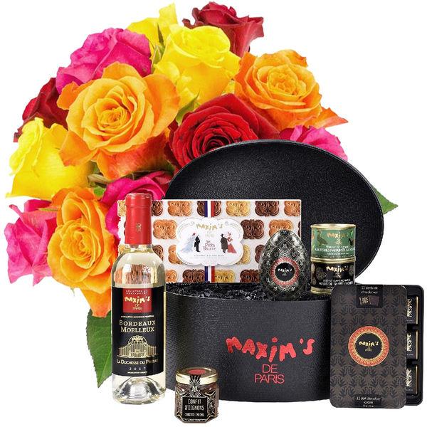 Cadeaux Gourmands 15 ROSES MULTICOLORES + COFFRET BLACK IS BEAUTIFUL
