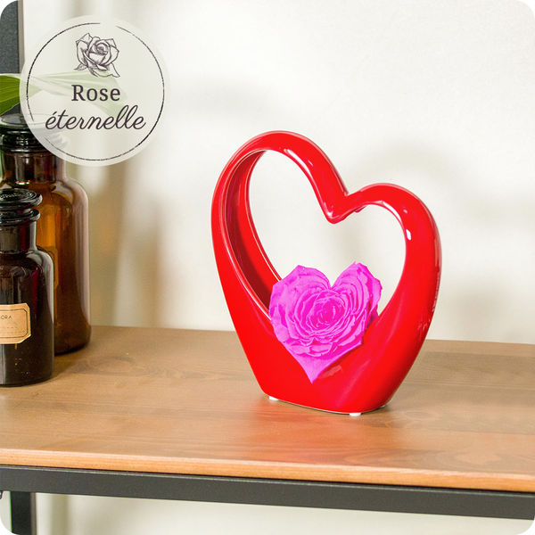 Bouquet de roses MINI COEUR ROUGE + ROSE STABILISEE ROSE EN COEUR