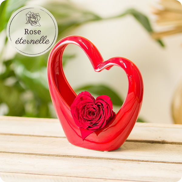 Bouquet de roses MINI COEUR ROUGE + ROSE STABILISEE ROUGE EN COEUR