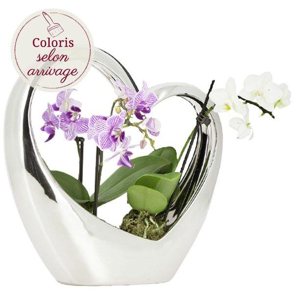 Orchidée COEUR ARGENTE EN CERAMIQUE ET SES 2 MINI-ORCHIDEES