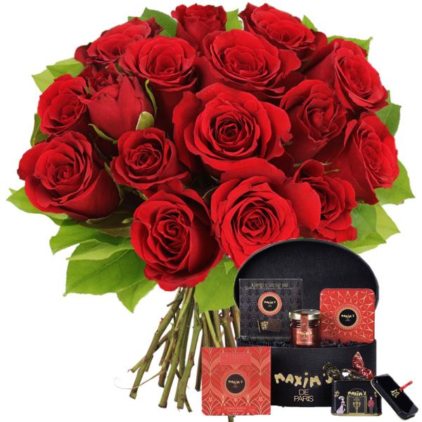 Cadeaux Gourmands 15 ROSES ROUGES + COFFRET MONTMARTRE