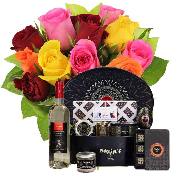 Bouquet de roses 15 ROSES MULTICOLORES + COFFRET ESCAPADE GOURMANDE
