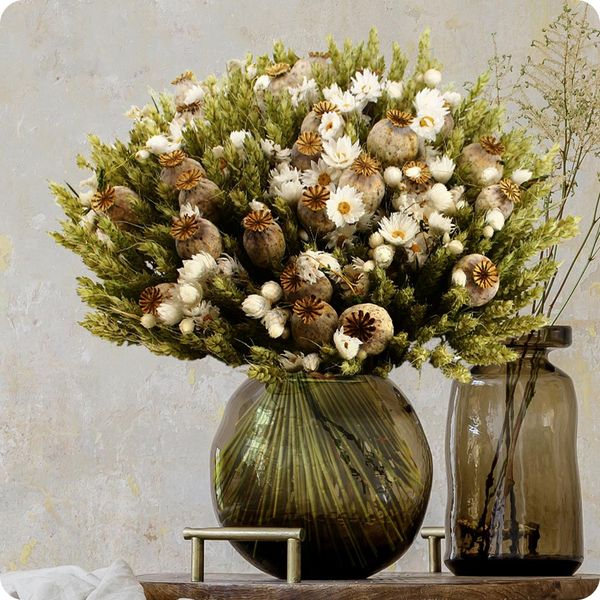 Bouquet rond FLEURS SECHEES BLANC