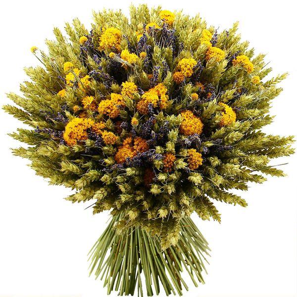 Bouquet rond BOUQUET DE FLEURS SECHEES JAUNE