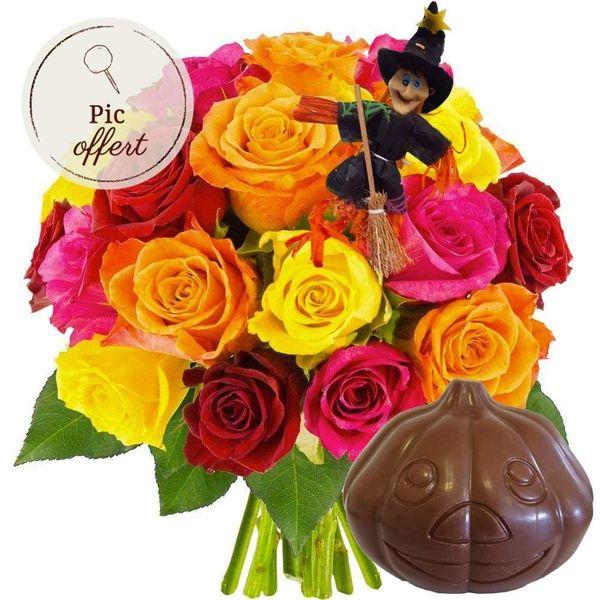 Cadeaux insolites 20 ROSES MULTICOLORES + PIC SORCIERE + CITROUILLE