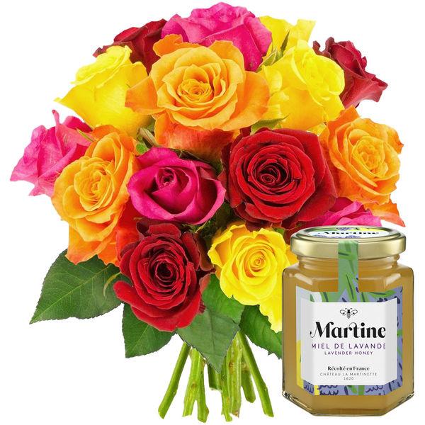 Cadeaux Gourmands 20 ROSES MIX + MIEL LAVANDE