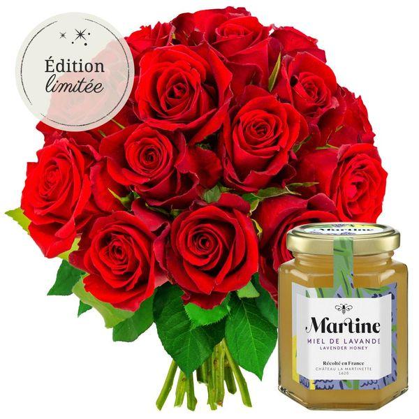 Cadeaux Gourmands 15 ROSES ROUGES + MIEL LAVANDE