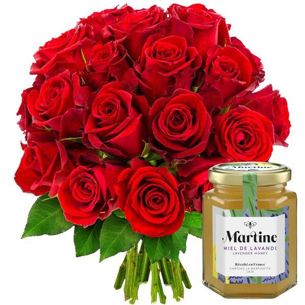 Cadeaux Gourmands 20 ROSES ROUGES + MIEL LAVANDE