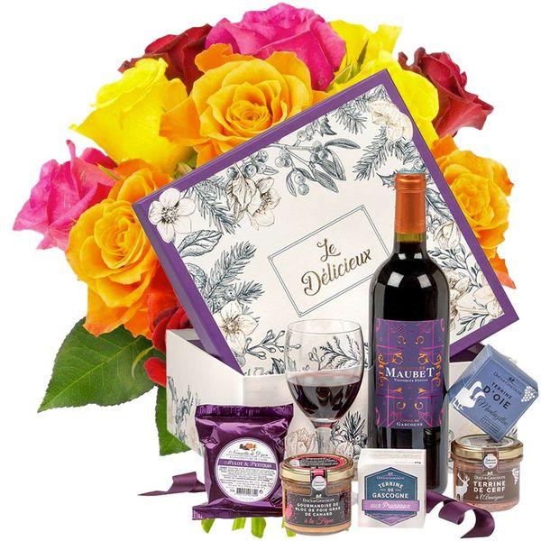 Cadeaux Gourmands 15 ROSES MULTICOLORES + COFFRET LE DELICIEUX